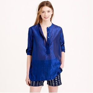 J.crew collarless popover shirt metallic voile 2